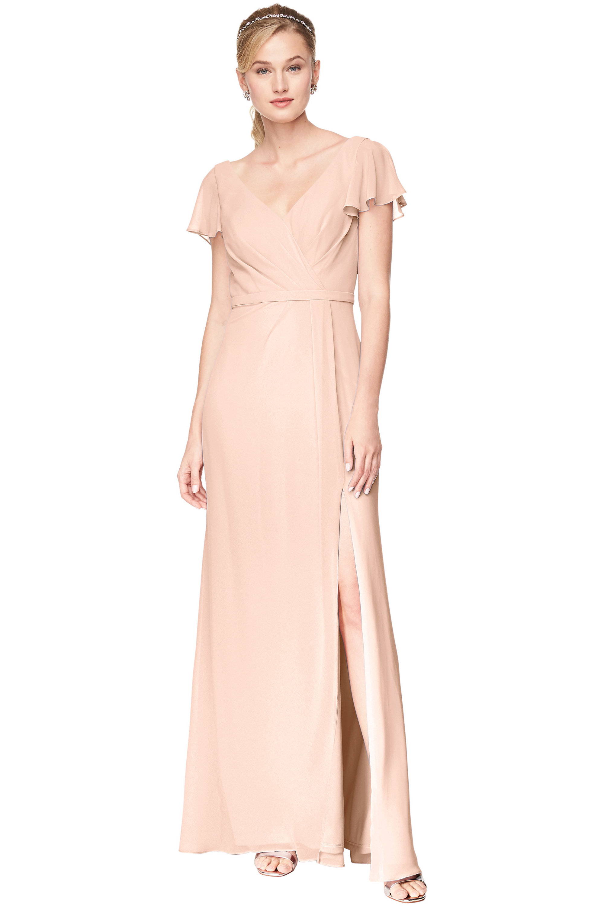 Bill Levkoff SHELL PINK Chiffon V-Neck A-Line gown, $184.00 Front