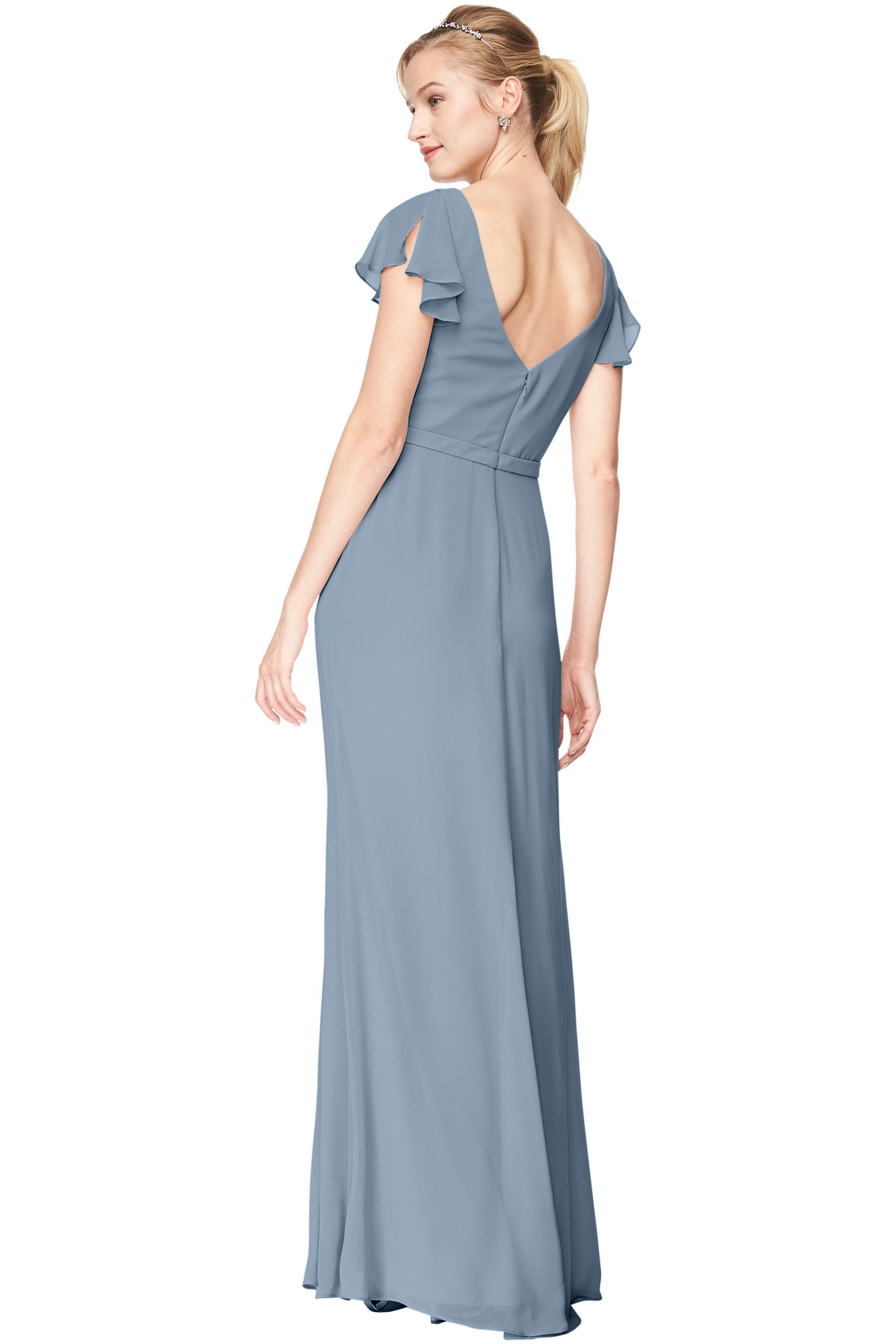 Bill Levkoff SLATE Chiffon V-Neck, Cap Sleeve A-Line gown, $184.00 Back