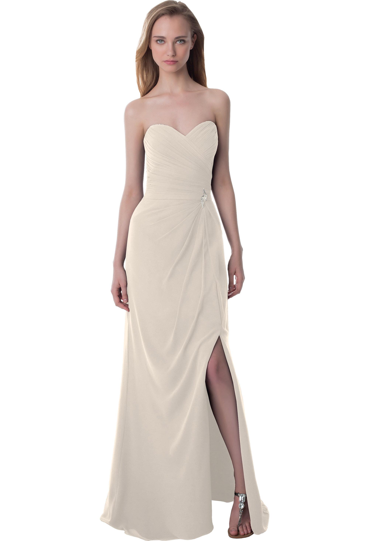 Bill Levkoff CHAMPAGNE Chiffon Sweetheart Asymmetrical gown, $220.00 Front