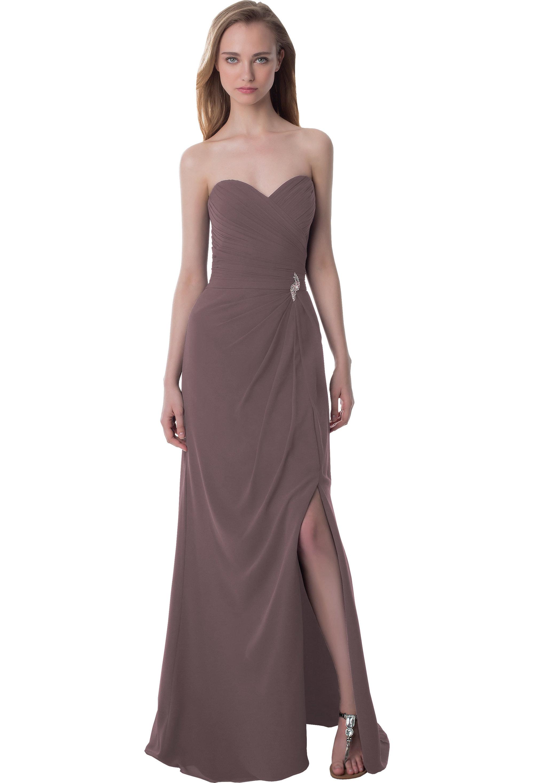 Bill Levkoff HEATHER Chiffon Sweetheart Asymmetrical gown, $220.00 Front