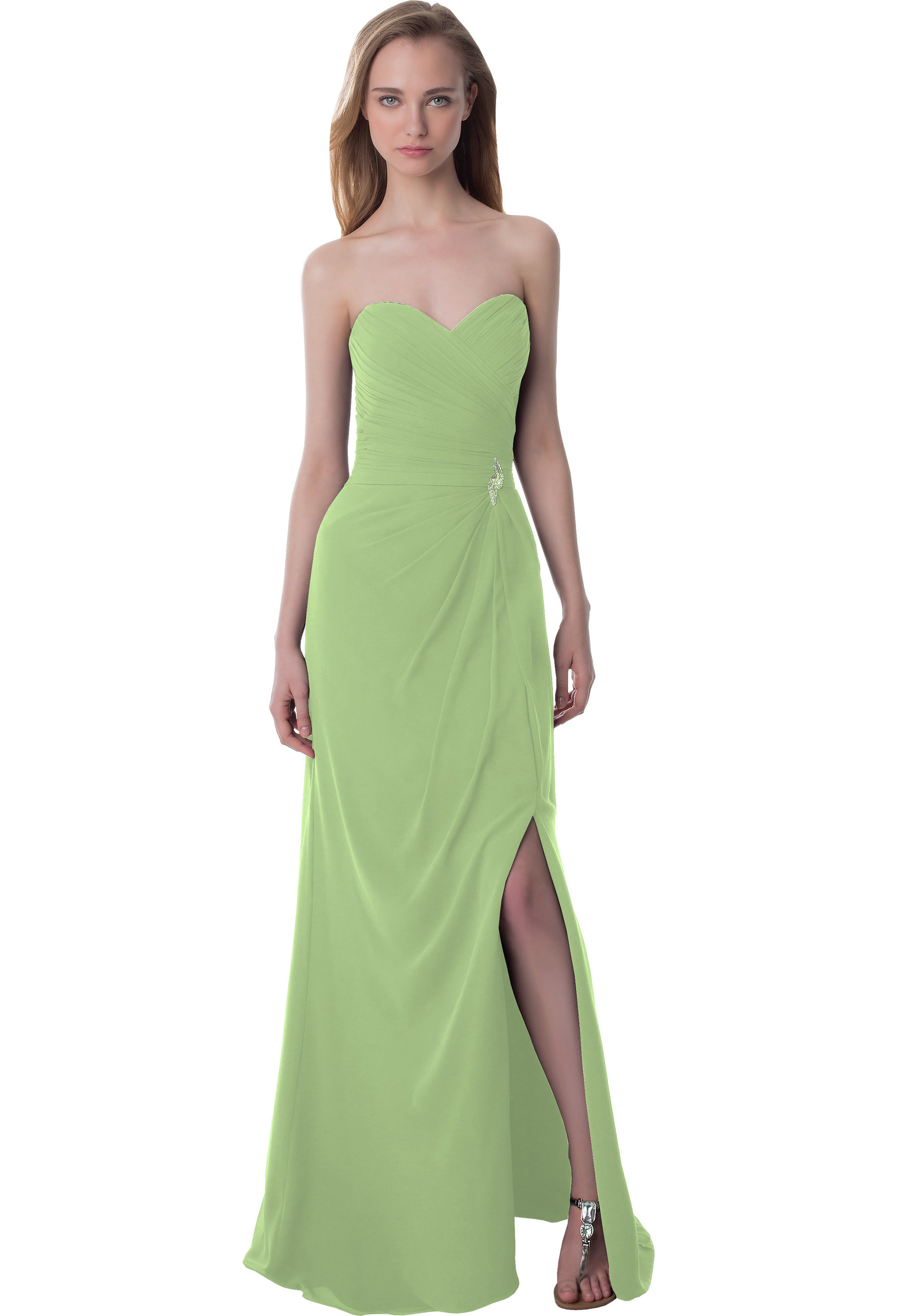 Bill Levkoff PISTACHIO Chiffon Sweetheart Asymmetrical gown, $220.00 Front
