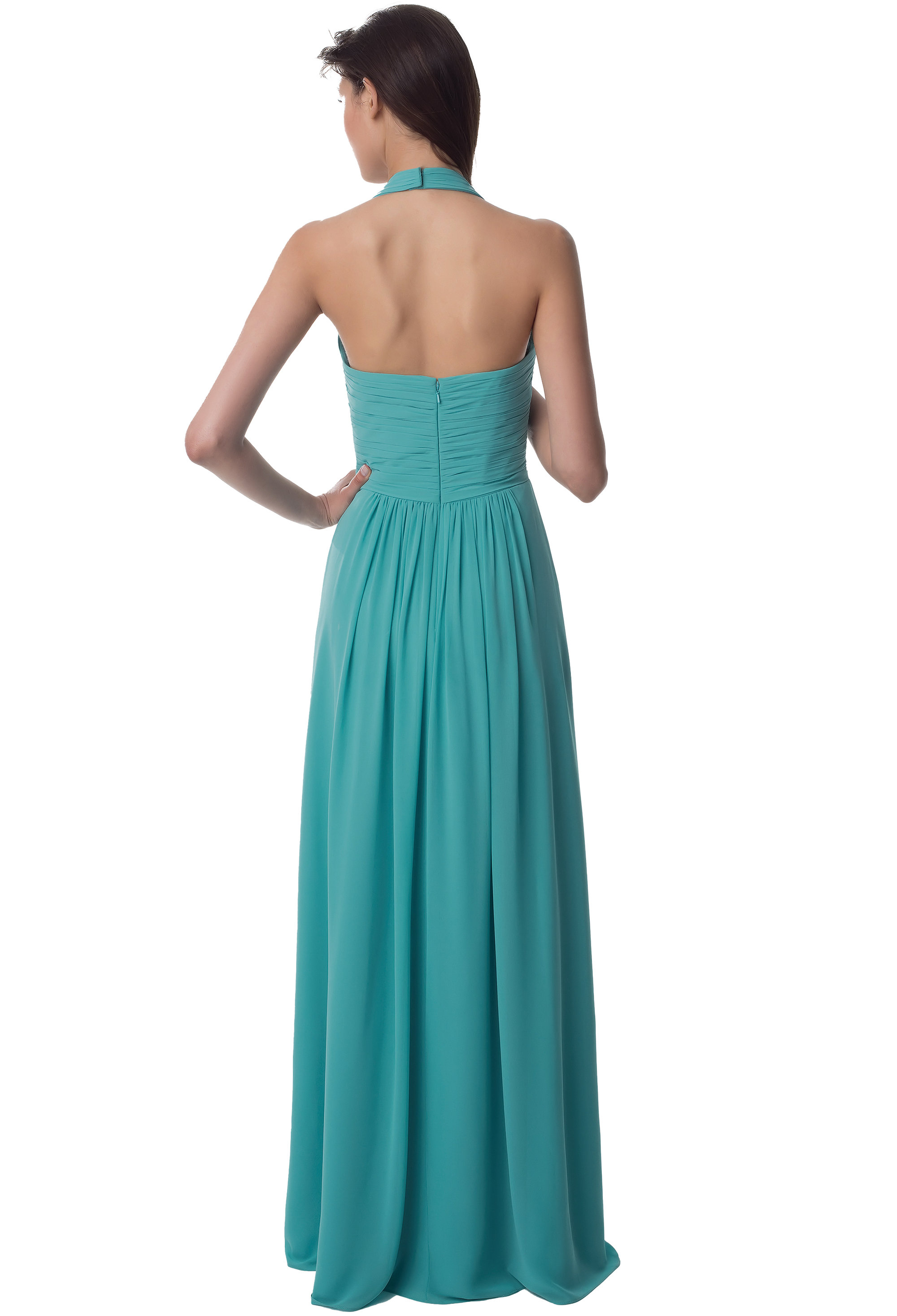 Bill Levkoff CHERRY Chiffon Sleeveless A-line gown, $220.00 Back