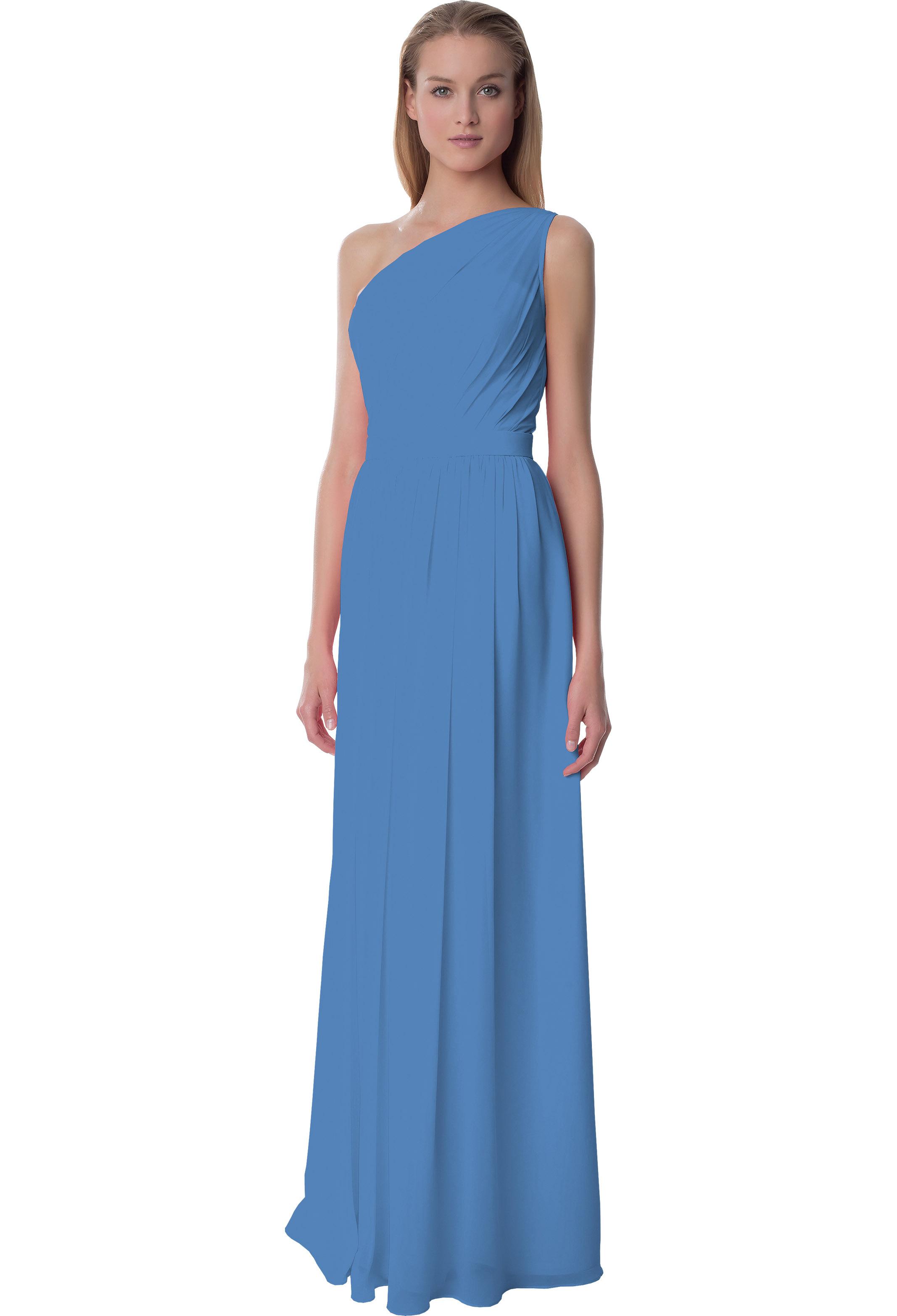 Bill Levkoff CORNFLOWER Chiffon One Shoulder A-line gown, $220.00 Front