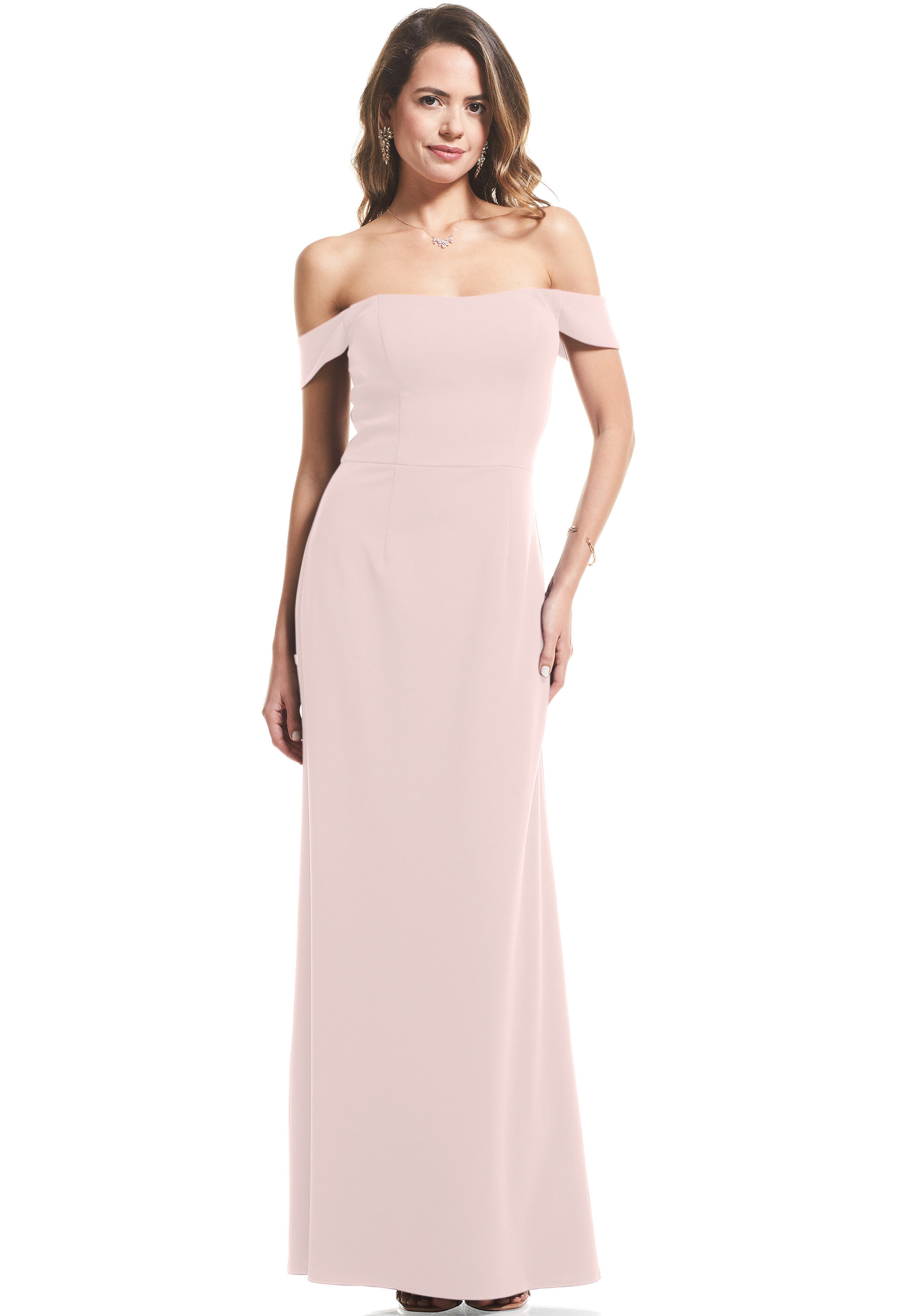 Bill Levkoff BALLET Stretch Crepe Off The Shoulder Mermaid gown, $99.00 Front