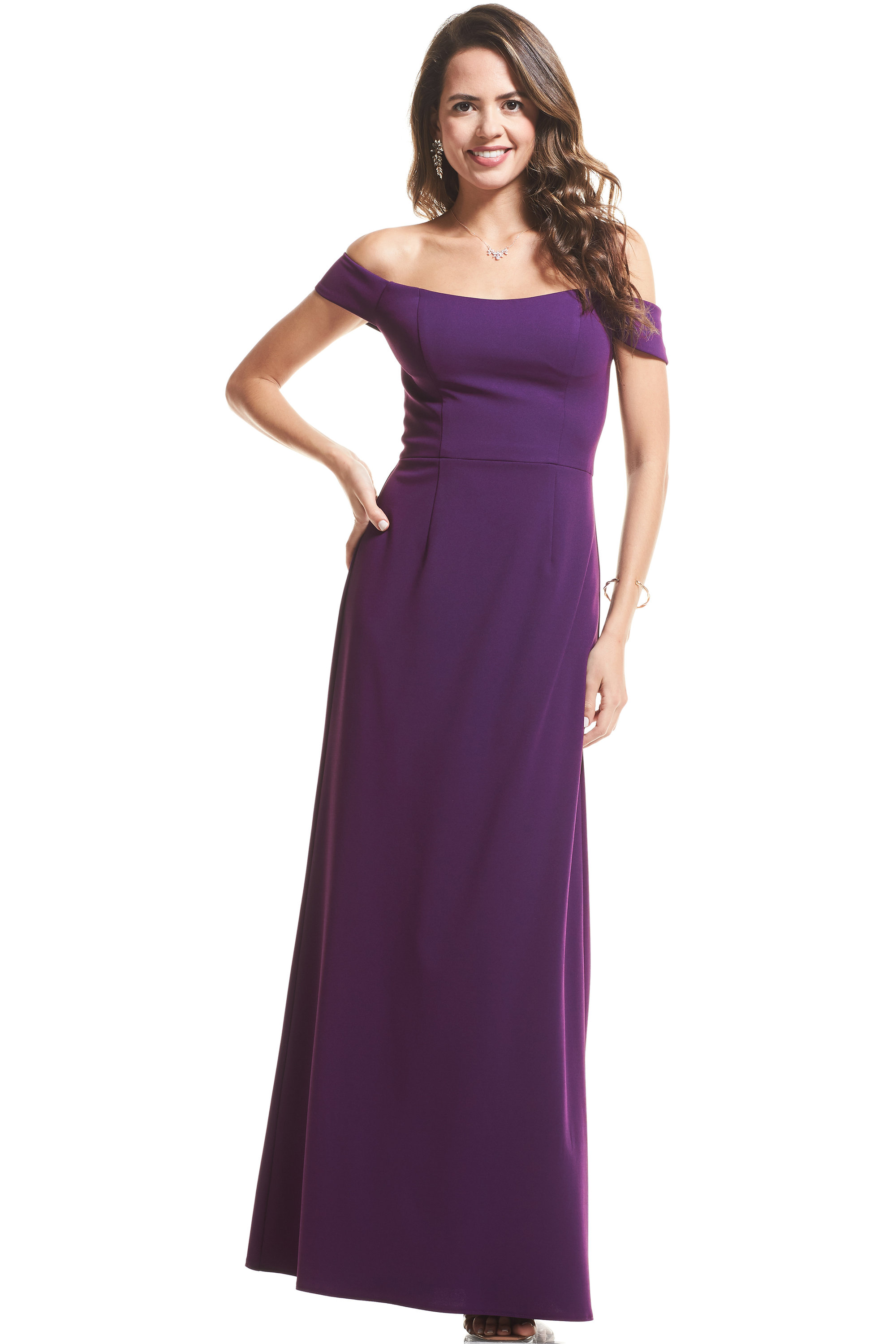 Bill Levkoff PALE BLUE Stretch Crepe Off The Shoulder Mermaid gown, $99.00 Lifestyle