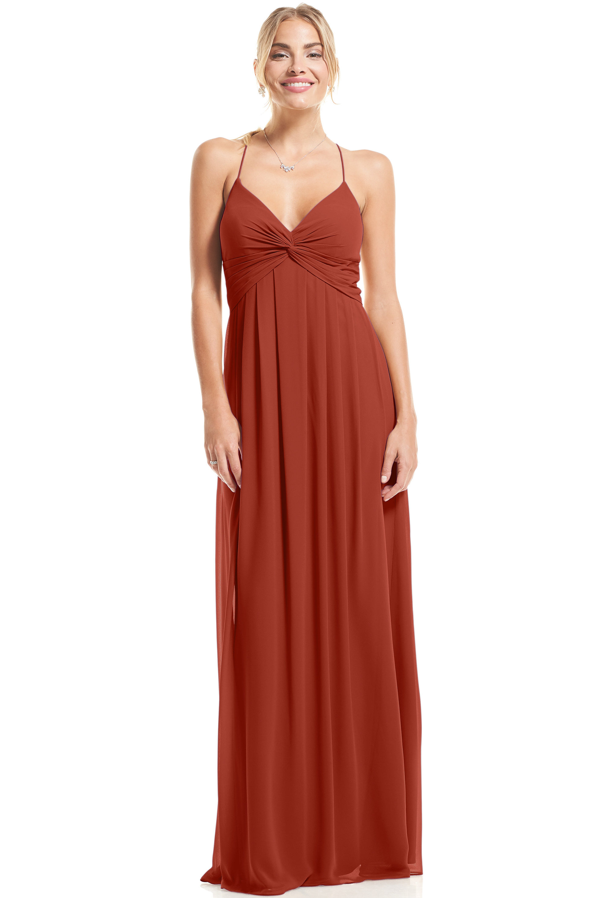 Bill Levkoff RUST Chiffon V-neck A-Line gown, $89.00 Front
