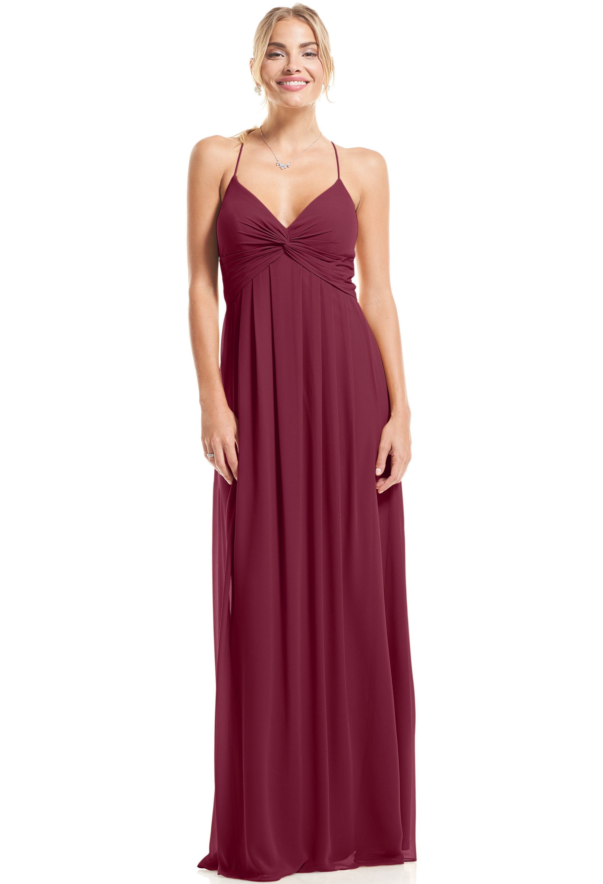Bill Levkoff SANGRIA Chiffon V-neck A-Line gown, $89.00 Front