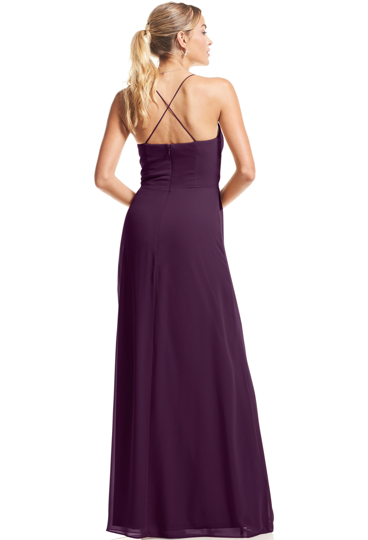 Bill Levkoff PURPLE Chiffon V-neck A-Line gown, $89.00 Back